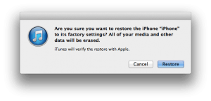 Hard reset iPhone 5 itunes confirmation